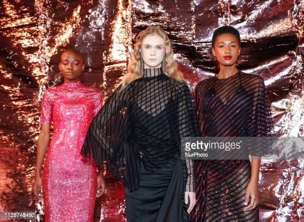 Models present Paula Knorr AW19 collection during London Fashion Week February 2019 at the BFC Show Space on February 18, 2019 in London, England.