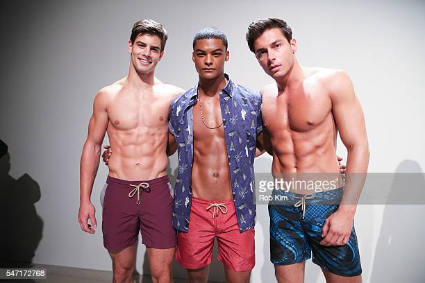 Models present swimwear at the Thorsun fashion presentation during New York Fashion Week Men's S/S 2017 at Skylight Clarkson Sq on July 13 2016 in...
