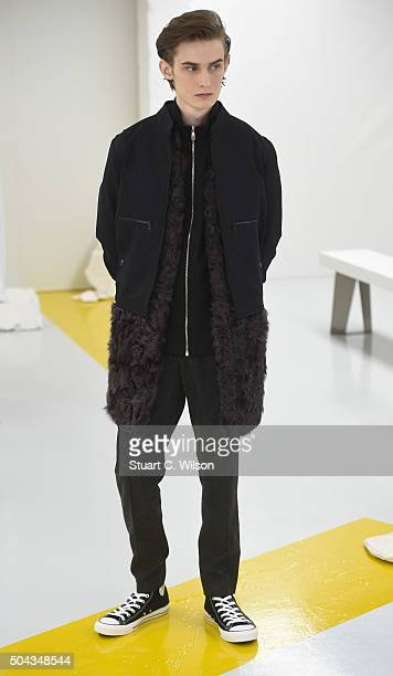 Models present the latest collection from Baartmans And Siegel during thier presentation at The London Collections Men AW16 at Victoria House on...