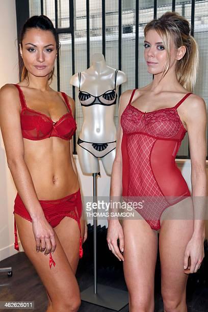 Models present underwear creation during the press preview of the Salon de la lingerie on January 14 2014 in Paris The Salon de la Lingerie will be...
