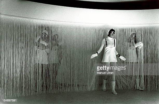 Models presenting new models at a repetition in the salons of Andre Courreges