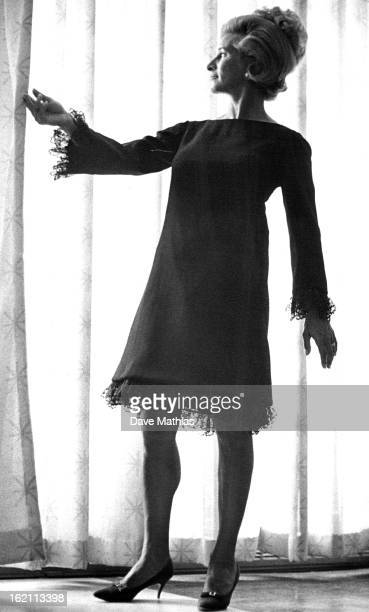 SEP 9 1966 SEP 12 1966 Models Preview Autumn Collect Modeling a cocktail frock of sheer chiffon wool for the afterdark look is Mrs Gerald Tatarkey...