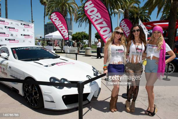 Models promote Forza Horizon during the E3 Electronic Entertainment Expo at Los Angeles Convention Center on June 5, 2012 in Los Angeles, California.