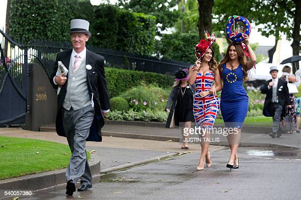 Models promoting betting for a bookmaker for the upcoming EU referendum pose for photographers on the first day on the first day of the Royal Ascot...