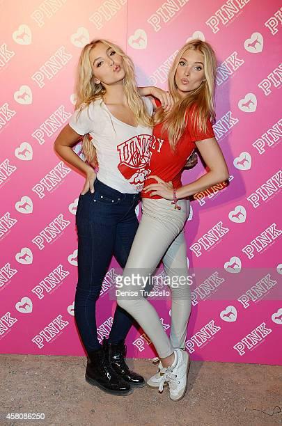 Models Rachel Hilbert and Elsa Hosk pose for a photo at Victoria's Secret 'PINK Nation Crazy For Campus' bash at University of Nevada Las Vegas on...