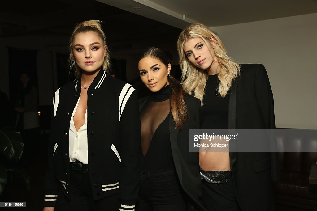 Models Rachel Hilbert, Olivia Culpo, and Devon Windsor attend Stuart Weitzman's Launch Of The Gigi Boot on October 26, 2016 in New York City.