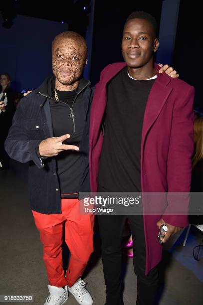Models Ralph Souffrant and David Agbodji attend the Laquan Smith front row during New York Fashion Week The Shows at Gallery I at Spring Studios on...