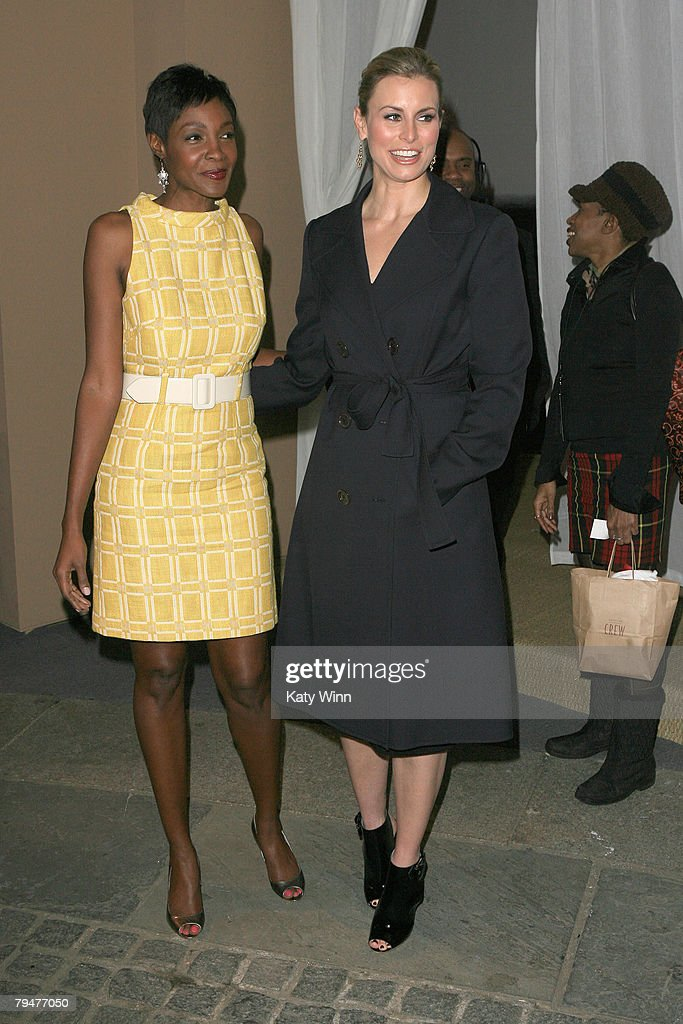 Models Rashimba and Niki Taylor at the fashion tents in Bryant Park during Mercedes-Benz Fashion Week Fall 2008 on February 1, 2008 in New York City.