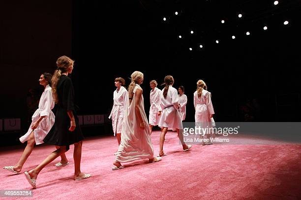Models rehearse ahead of the Macgraw show at MercedesBenz Fashion Week Australia 2015 at Carriageworks on April 13 2015 in Sydney Australia