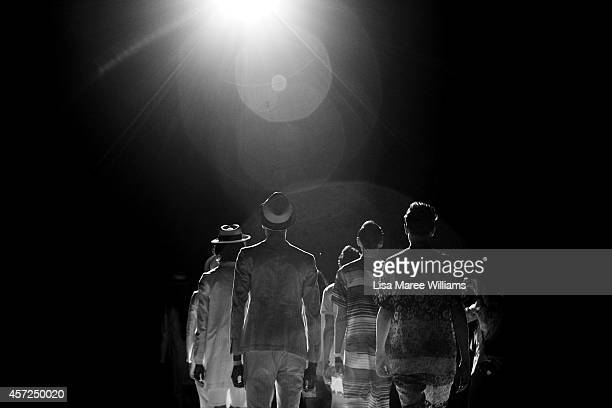 Models rehearse ahead of the Patchy Cake Eater show as part of Mercedes Benz Fashion Week TOKYO 2015 S/S at Shibuya Hikarie on October 14 2014 in...