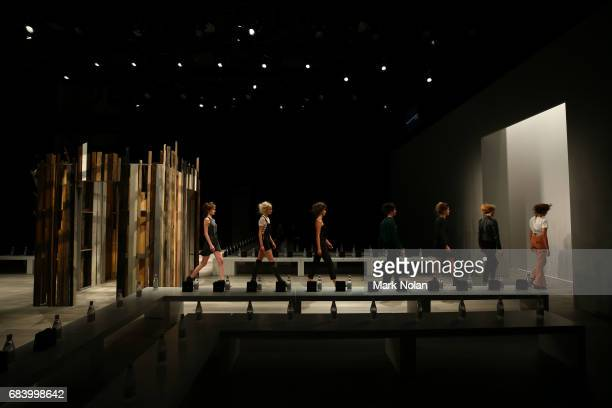 Models rehearse ahead of the Yousef Akbar show at MercedesBenz Fashion Week Resort 18 Collections at Carriageworks on May 17 2017 in Sydney Australia
