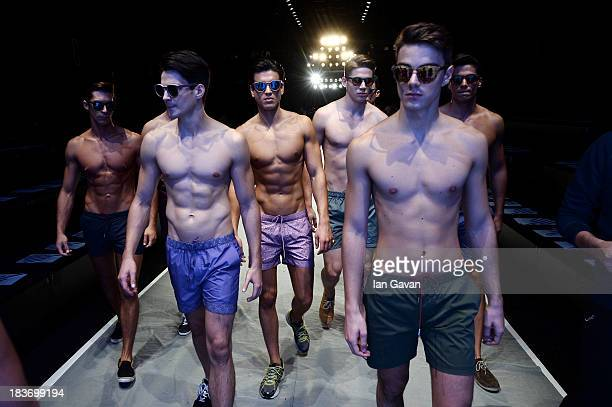 Models rehearse at the Serdar Uzuntas show during MercedesBenz Fashion Week Istanbul s/s 2014 presented by American Express on October 9 2013 in...