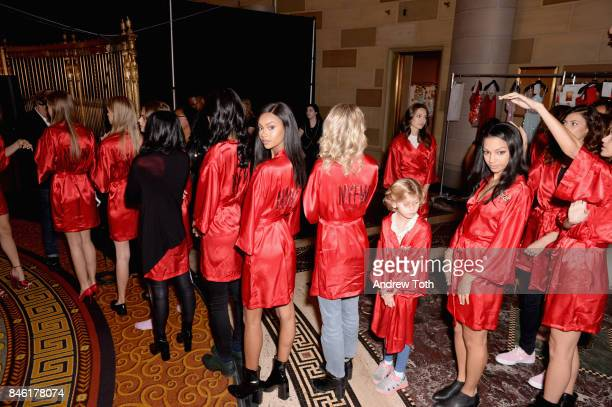 Models rehearse backstage at the Sherri Hill NYFW SS18 fashion show at Gotham Hall on September 12 2017 in New York City