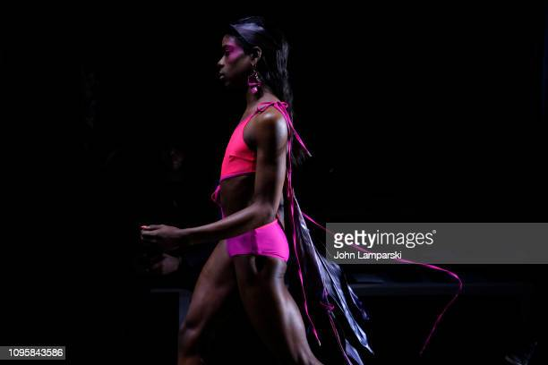 Models rehearse backstage for Chromat fashion show during New York Fashion Week The Shows at Industria Studios on February 8 2019 in New York City