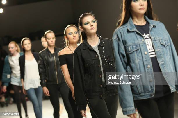 Models rehearse for Dan Liu fashion show during New York Fashion Week The Shows at Gallery 3 Skylight Clarkson Sq on September 10 2017 in New York...