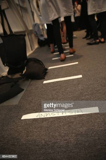 Models rehearse for the Noon by Noor fashion show during New York Fashion Week The Shows at Gallery 3 Skylight Clarkson Sq on February 9 2017 in New...