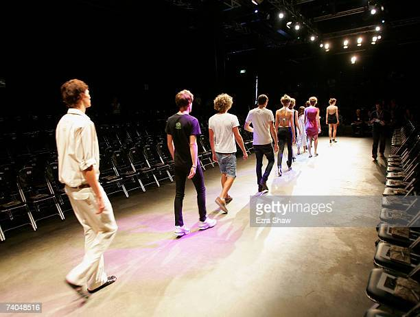 Models rehearse on the catwalk prior the Men's & Women's Ready To Wear Backstage on day three of Rosemount Australian Fashion Week Spring/Summer...