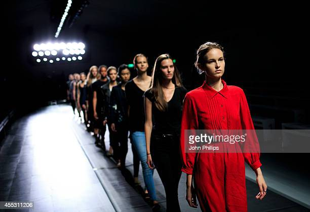 Models rehearse on the runway before the Eudon Choi show during London Fashion Week Spring Summer 2015 at Somerset House on September 12 2014 in...