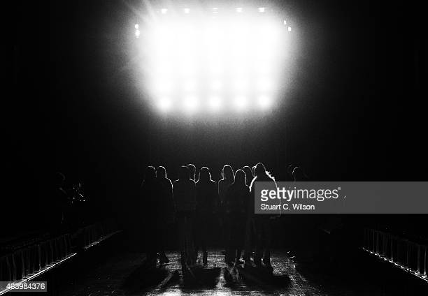 Models rehearse prior to the Fyodor Golan show during London Fashion Week Fall/Winter 2015/16 at on February 20 2015 in London England