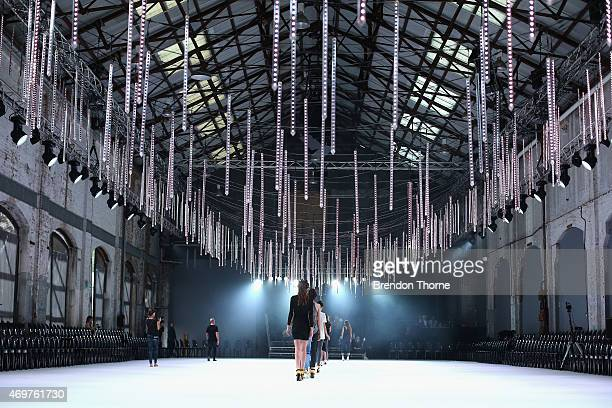 Models rehearse the runway ahead of the Manning Cartel show at MercedesBenz Fashion Week Australia 2015 at Carriageworks on April 15 2015 in Sydney...