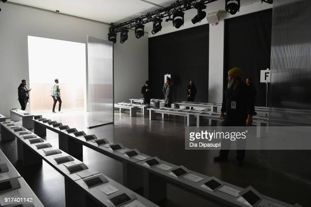 Models reherse backstage at the John Elliott fashion show during New York Week The Shows at Gallery II at Spring Studios on February 12 2018 in New...