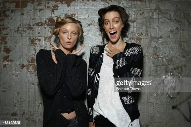 Models relax backstage ahead of the Bec and Bridge show at MercedesBenz Fashion Week Australia 2014 at Blacksmith's Workshop Carriageworks on April 7...