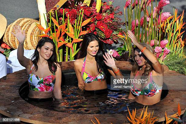 Models ride on 'The Bachelor' float in a hot tub at the 127th Tournament of Roses Parade Presented by Honda on January 1 2016 in Pasadena California