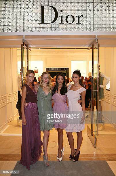 Models Rina Roe Brinna Barnes Colleen Hunter and Tiana Zarlin pose during the Christian Dior Store Opening at South Coast Plaza on September 1 2010...