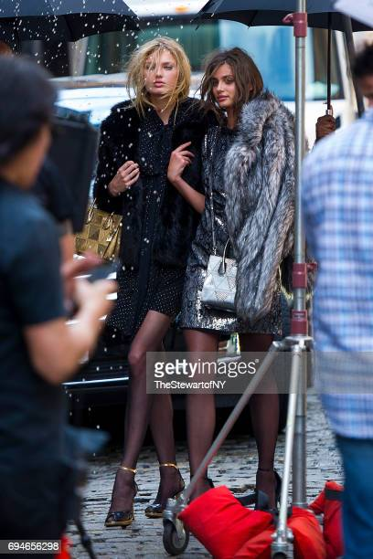 Models Romee Strijd and Taylor Hill are seen in NoHo on June 10 2017 in New York City