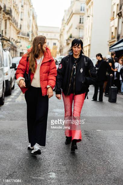 Models Roos van Bosstraeten and Kim Peers after the Kwaiden Editions show during Paris Fashion Week Spring/Summer 2020 on October 01 2019 in Paris...
