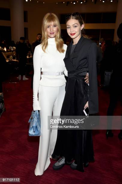 Models Rosie HuntingtonWhiteley and Gigi Hadid attends the Brandon Maxwell front row during New York Fashion Week The Shows at Appel Room on February...