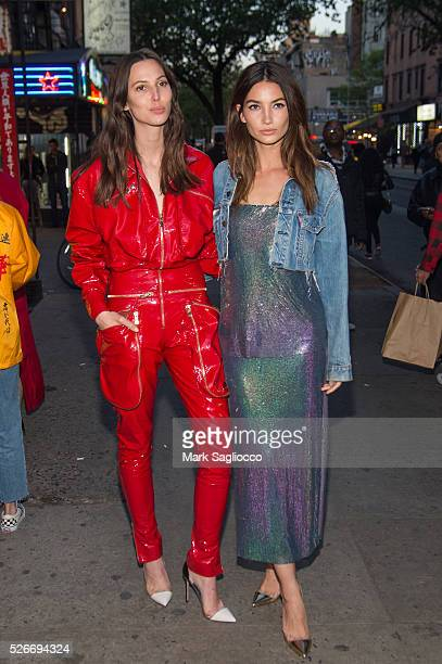 Models Ruby Aldridge and Lily Aldridge attends the Voguecom Met Gala Cocktail Party at Search Destroy on April 30 2016 in New York City