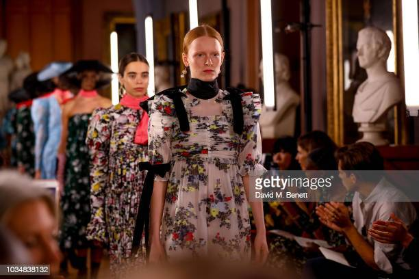 Models run the runway at Erdem SS19 Show - Production By Family Limited on September 17, 2018 in London, England.