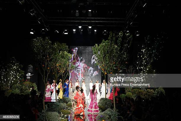 Models runway the catwalk during the International Flamenco Fashion Show SIMOF 2015 on February 6 2015 in Seville Spain