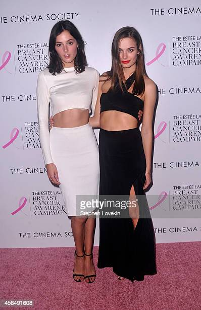 Models Sadie Newman and Abi Fox attend the 'Hear Our Stories Share yours' screening hosted by the Estee Lauder Companies Breast Cancer Awareness...