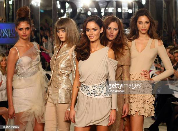 Models Samantha Harris AbbeyLee Kershaw Nicole Trunfio Catherine McNeil and Alexandra Agoston pose on the catwalk at the conclusion of the David...