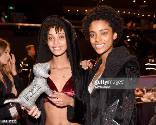 Models Samile Bermannelli and Alecia Morais pose in Hair Makeup during 2017 Victoria's Secret Fashion Show In Shanghai at MercedesBenz Arena on...