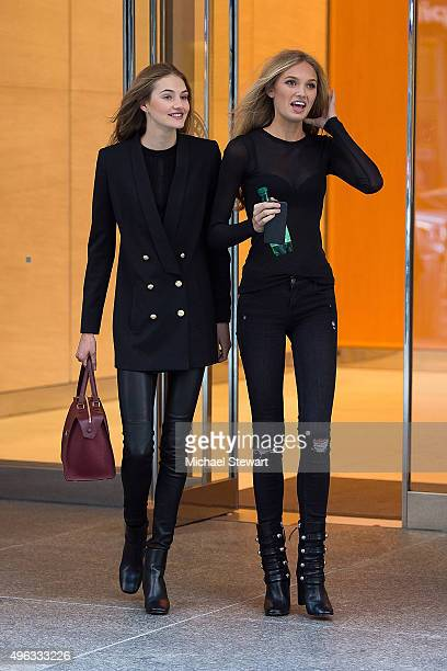 Models Sanne Vloet and Romee Strijd are seen in Midtown on November 8 2015 in New York City
