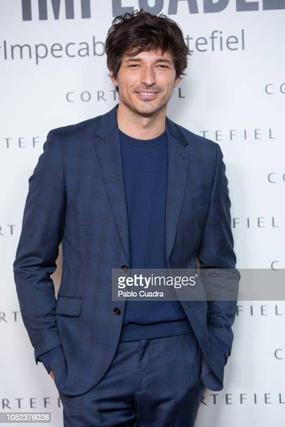 Models Sara Carbonero and Andres Velencoso present 'Los Impecables' campaign by Cortefiel on October 17 2018 in Madrid Spain