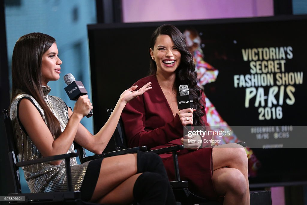 Models Sara Sampaio (L) and Adriana Lima speak at Build Presents Victoria's Secret Angels Sara Sampaio and Adriana Lima at AOL HQ on December 5, 2016 in New York City.