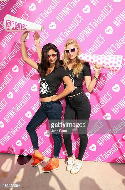 Models Sara Sampaio and Elsa Hosk attend the Victoria's Secret PINK Nation Campus Party at University of Central Florida on September 12, 2013 in...