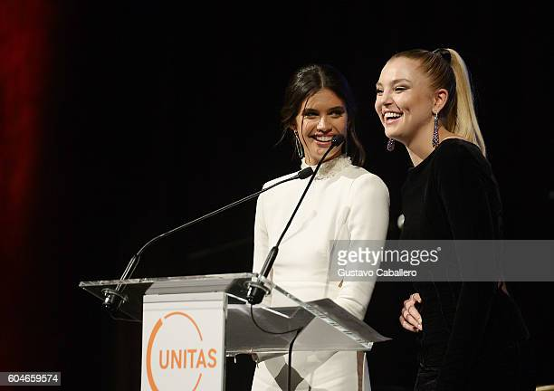 Models Sara Sampaio and Rachel Hilbert speak onstage at the UNITAS 2nd annual gala against human trafficking at Capitale on September 13 2016 in New...