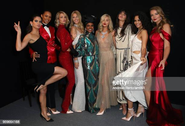 Models Sara Sampaio Lais Ribeiro Hailey Clauson Toni Garrn Halima Aden Elsa Hosk Vanessa Moody Shanina Shaik and Eniko Mihalik pose backstage at the...