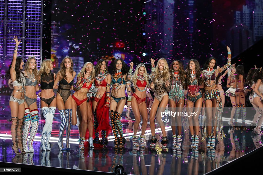 Models Sara Sampaio, Martha Hunt, Stella Maxwell, Josephine Skriver, Elsa Hosk, Lily Aldridge, Alessandra Ambrosio, Adriana Lima, Candice Swanepoel, Romee Strijd, Jasmine Tookes and Taylor Hill pose on the runway during the 2017 Victoria's Secret Fashion Show at Mercedes-Benz Arena on November 20, 2017 in Shanghai, China.