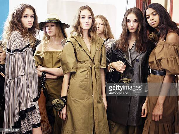 Models Sasha Kichigina Josephine Le Tutour Camille Hurel and Alyssa Traore poses prior the Sonia Rykiel show as part of the Paris Fashion Week...