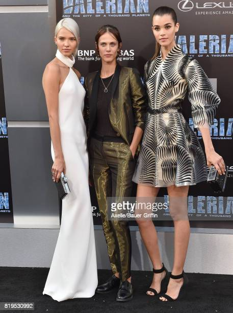 Models Sasha Luss Aymeline Valade and Pauline Hoarau arrive at the Los Angeles premiere of 'Valerian and the City of a Thousand Planets' at TCL...