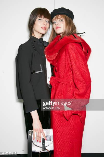 Models seen backstage ahead of the Emporio Armani show during Milan Fashion Week Fall/Winter 2017/18 on February 24 2017 in Milan Italy
