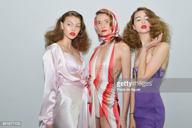 Models seen backstage at the Amir Slama show during SPFW N44 Winter 2018 at Ibirapuera's Bienal Pavilion on August 29 2017 in Sao Paulo Brazil