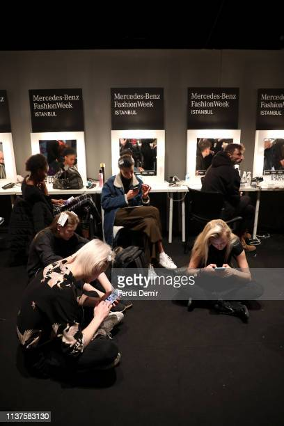 Models seen backstage at the MiiN by Kadir Kilic show during MercedesBenz Istanbul Fashion Week at Zorlu Performance Hall on March 22 2019 in...