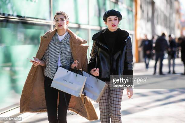 Models seen outside Armani during Milan Menswear Fashion Week Autumn/Winter 2019/20 on January 14 2019 in Milan Italy